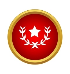 Laurel wreath with star icon simple style vector