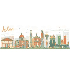 Abstract lisbon skyline with color buildings vector