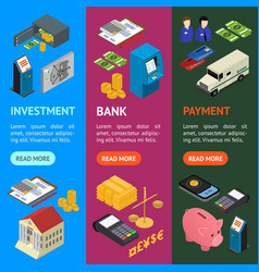 bank banner vecrtical set isometric view vector image vector image