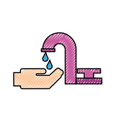 bathroom faucet hand drop water clean vector image vector image