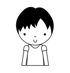 Black icon cute little boy cartoon vector