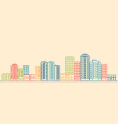 City landscape with buildings and shops vector