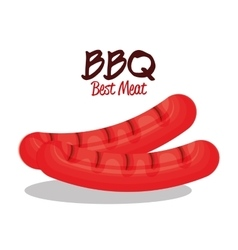 Delicious bbq sausages icon vector