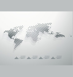 dotted monochrome abstract world map vector image vector image