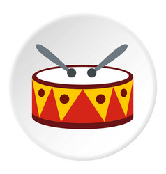 Drum with sticks icon circle vector