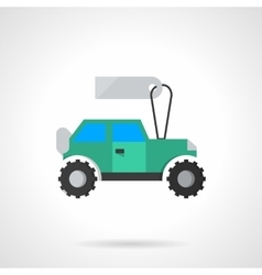 Flat blue SUV with tag icon vector image