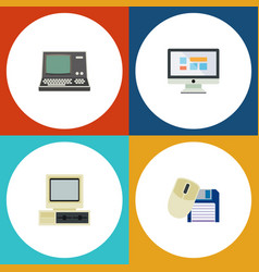 Flat icon laptop set of computer mouse display vector