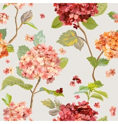 Floral hortensia background - seamless pattern vector