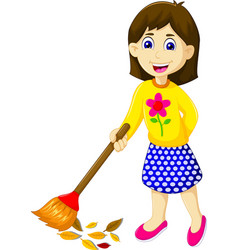 Funny mother cartoon sweeping vector