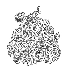 Hand drawn ornament with floral pattern vector