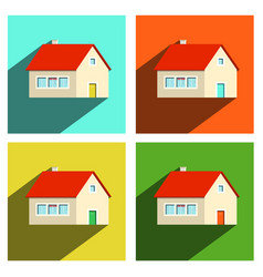 house flat icons set isolated on white background vector image vector image