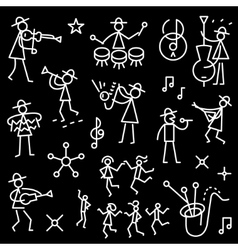 Jazz band icons vector