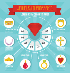 jewelry infographic concept flat style vector image