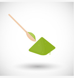 Matcha tea powder with spoon flat icon vector