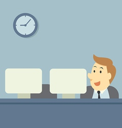 Office workers at their computer vector image