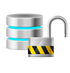 Open padlock - and database computer security vector