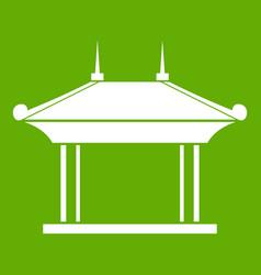 Pagoda icon green vector