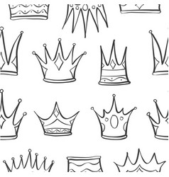 Pattern crown hand draw art vector