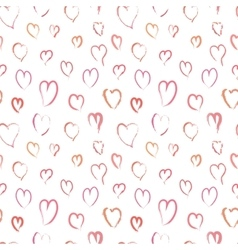 Pink hand drawn hearts seamless pattern vector image