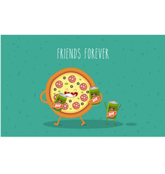 pizza beer vector image vector image