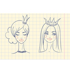 Princess sketches style in notebook vector