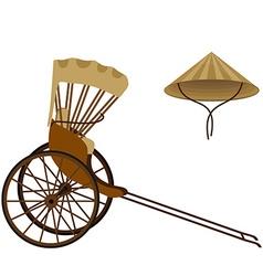 Rickshaw and hat vector