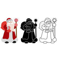 Santa claus with a bag of gifts and stick vector