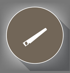 saw simple sign  white icon on brown vector image