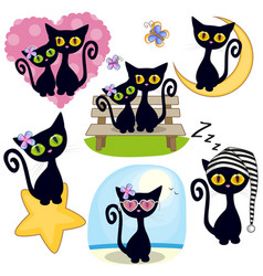 Set of cute cartoon cat vector