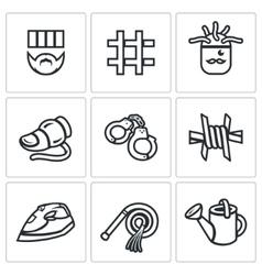 Set of interrogation icons criminal vector