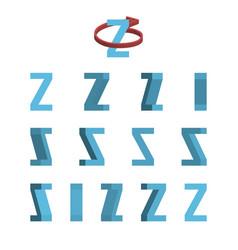 Sheet of sprites rotation of cartoon 3d letter z vector