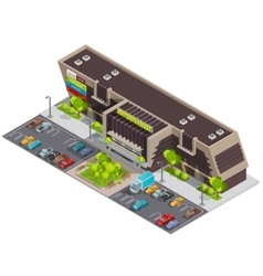 Shopping center mall complex isometric composition vector