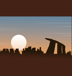 Silhouette of singapore scenery at sunset vector