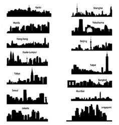 silhouettes of Asian cities vector image
