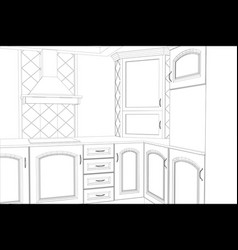 sketch plan kitchen in the wire vector image vector image