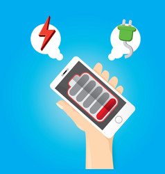 smartphone with red low battery icon on screen vector image