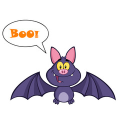 Vampire bat flying with speech bubble and text vector