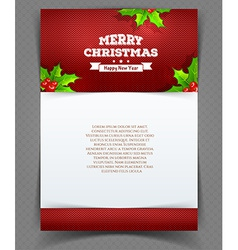 Xmas back with holly leaves vector image vector image