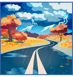 Autumn rainy road vector