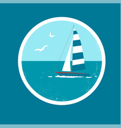 Badge with yacht and birds vector