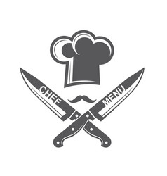 Crossed knives and chef hat with mustache vector