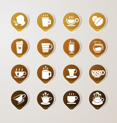 Sticker label coffee set vector