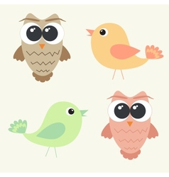 Set of adorable owls and cute birds vector