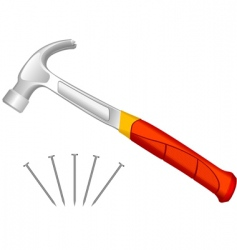 hammer and fixing nails vector image