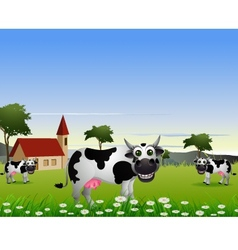 cute cow cartoon with landscape background vector image