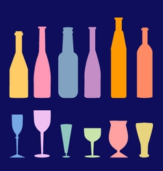 Wine bottle glass vector