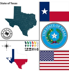 Map of texas with seal vector