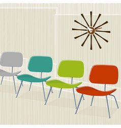 retro-inspired chairs vector image
