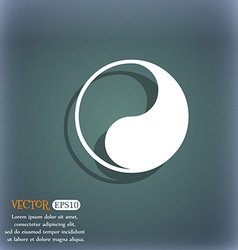 Yin yang icon symbol on the blue-green abstract vector