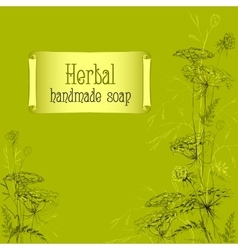 Green hand drawn herbs and plants sketch handmade vector